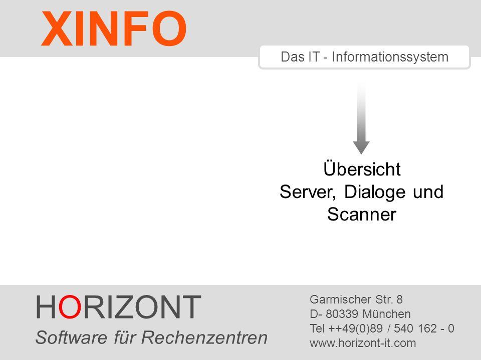 HORIZONT 1 XINFO ® Das IT - Informationssystem Übersicht Server, Dialoge und Scanner HORIZONT Software für Rechenzentren Garmischer Str. 8 D- 80339 Mü