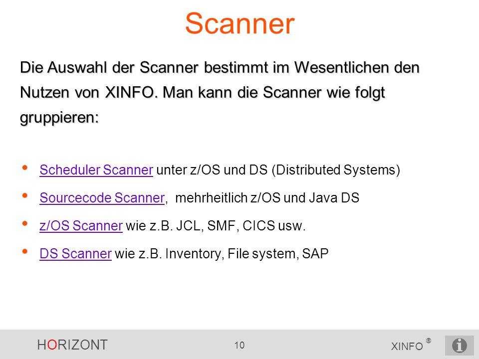 HORIZONT 10 XINFO ® Scanner Scheduler Scanner unter z/OS und DS (Distributed Systems) Scheduler Scanner Sourcecode Scanner, mehrheitlich z/OS und Java