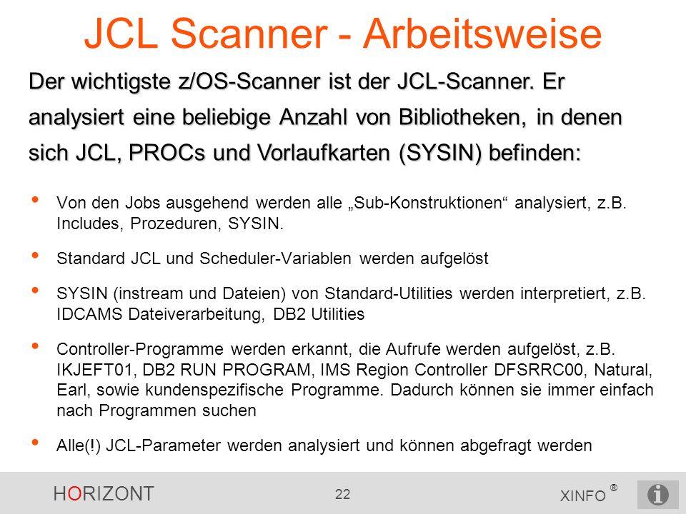 HORIZONT 22 XINFO ® JCL Scanner - Arbeitsweise Der wichtigste z/OS-Scanner ist der JCL-Scanner. Er analysiert eine beliebige Anzahl von Bibliotheken,