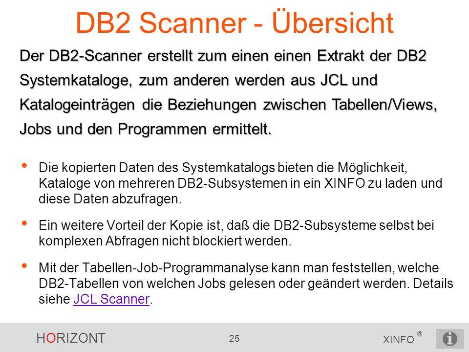 HORIZONT 25 XINFO ® DB2 Scanner - Übersicht Der DB2-Scanner erstellt zum einen einen Extrakt der DB2 Systemkataloge, zum anderen werden aus JCL und Ka
