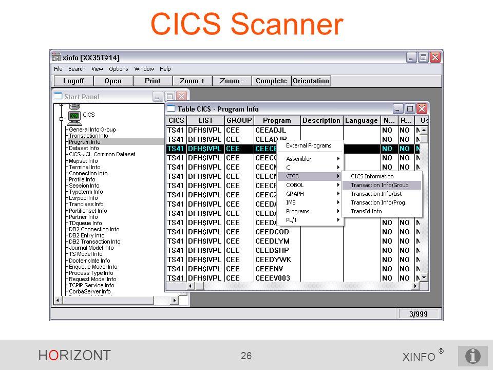HORIZONT 26 XINFO ® CICS Scanner