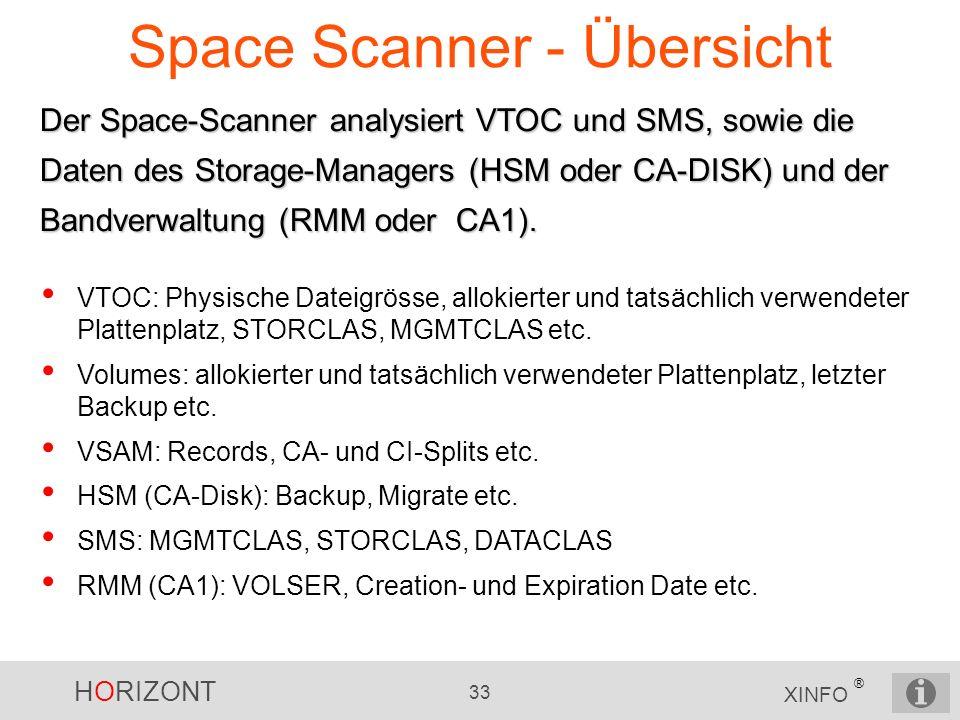 HORIZONT 33 XINFO ® Space Scanner - Übersicht Der Space-Scanner analysiert VTOC und SMS, sowie die Daten des Storage-Managers (HSM oder CA-DISK) und d