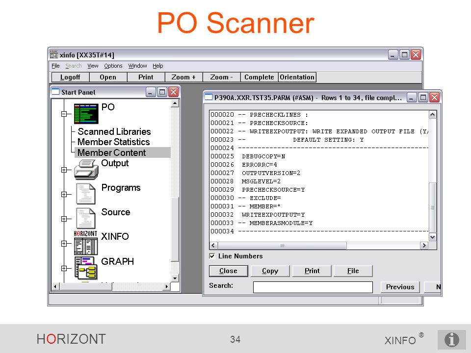 HORIZONT 34 XINFO ® PO Scanner