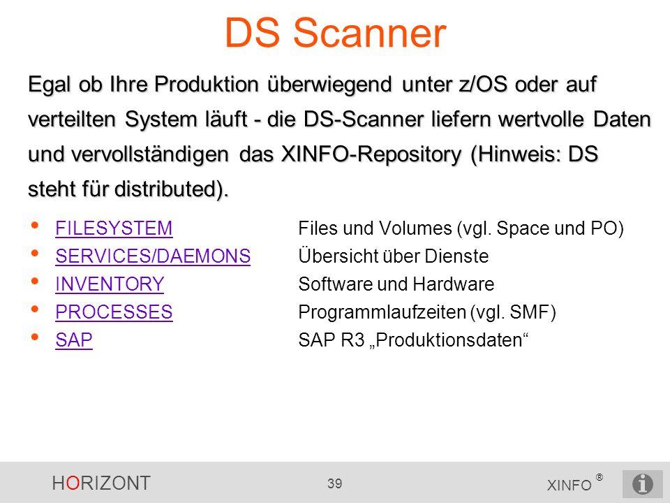 HORIZONT 39 XINFO ® DS Scanner FILESYSTEMFiles und Volumes (vgl. Space und PO) FILESYSTEM SERVICES/DAEMONSÜbersicht über Dienste SERVICES/DAEMONS INVE