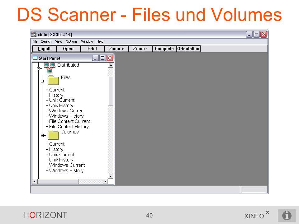 HORIZONT 40 XINFO ® DS Scanner - Files und Volumes