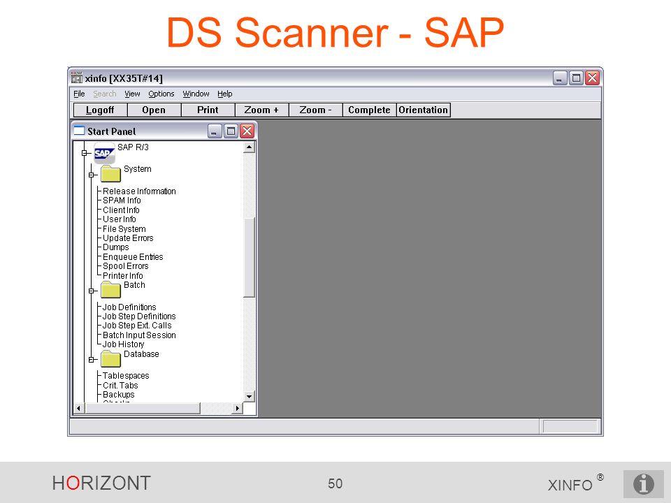 HORIZONT 50 XINFO ® DS Scanner - SAP