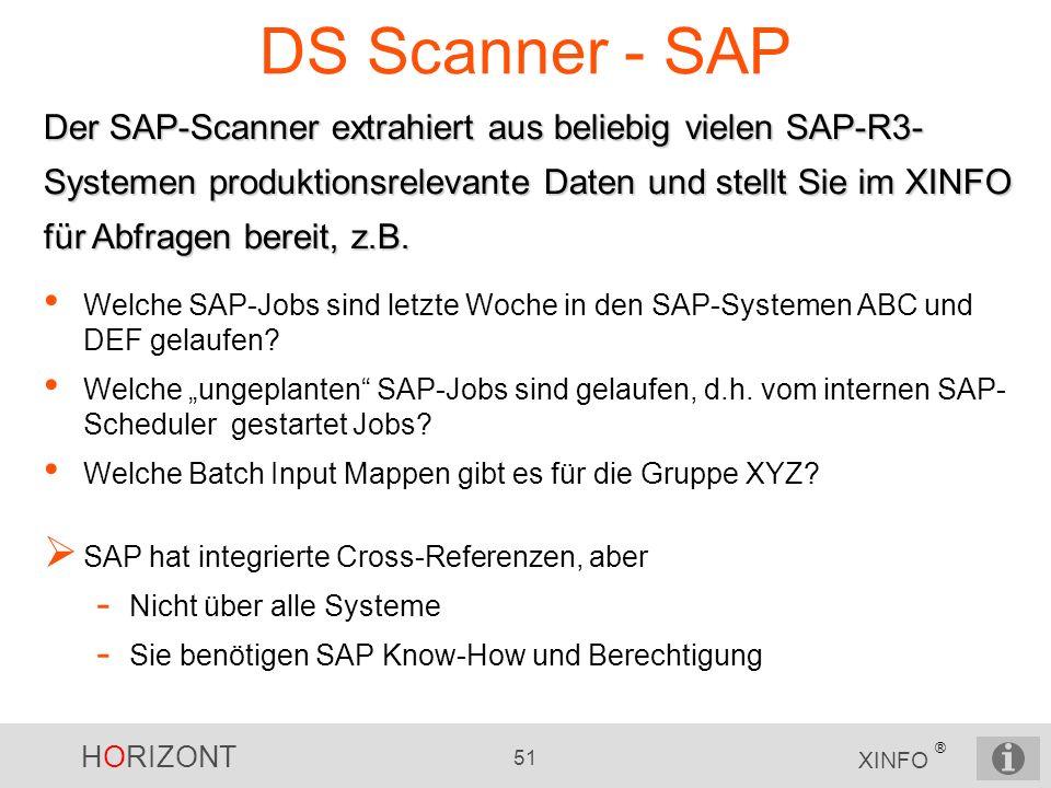 HORIZONT 51 XINFO ® DS Scanner - SAP Der SAP-Scanner extrahiert aus beliebig vielen SAP-R3- Systemen produktionsrelevante Daten und stellt Sie im XINF