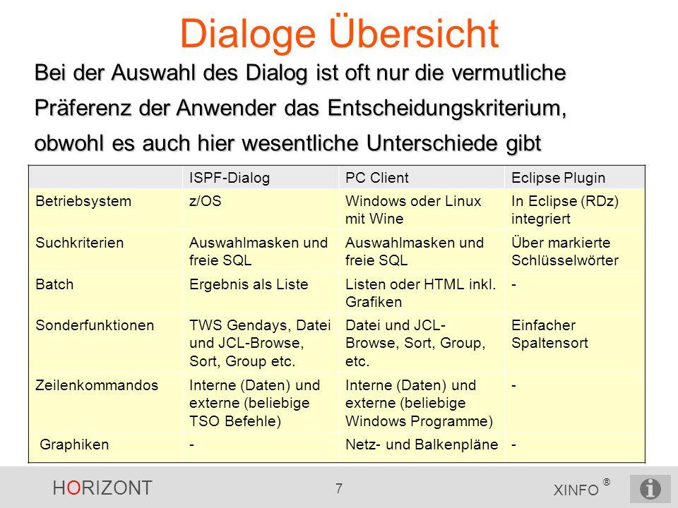 HORIZONT 7 XINFO ® Dialoge Übersicht Bei der Auswahl des Dialog ist oft nur die vermutliche Präferenz der Anwender das Entscheidungskriterium, obwohl
