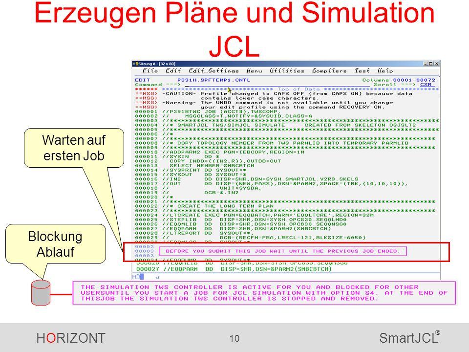 HORIZONT 10 SmartJCL ® Erzeugen Pläne und Simulation JCL Warten auf ersten Job Blockung Ablauf