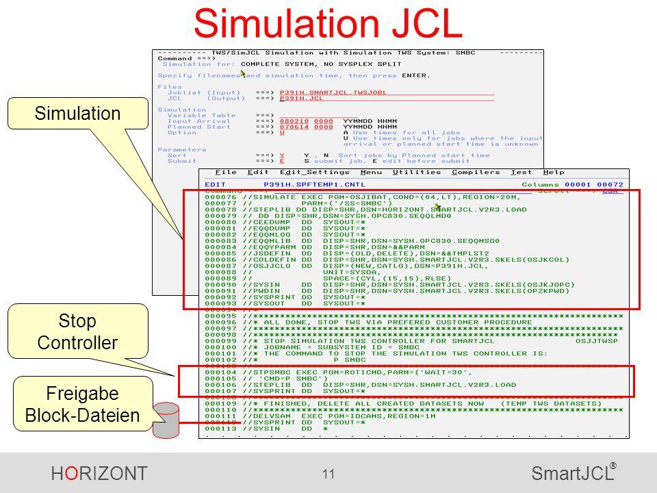 HORIZONT 11 SmartJCL ® Simulation JCL Stop Controller Simulation Freigabe Block-Dateien