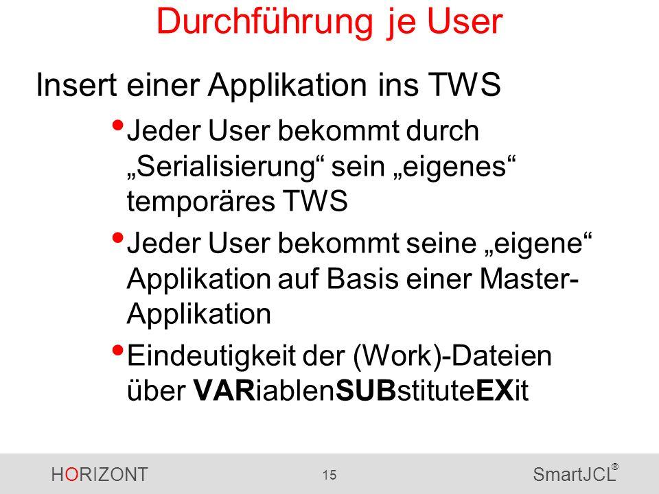 HORIZONT 15 SmartJCL ® Durchführung je User Jeder User bekommt durch Serialisierung sein eigenes temporäres TWS Jeder User bekommt seine eigene Applikation auf Basis einer Master- Applikation Eindeutigkeit der (Work)-Dateien über VARiablenSUBstituteEXit Insert einer Applikation ins TWS