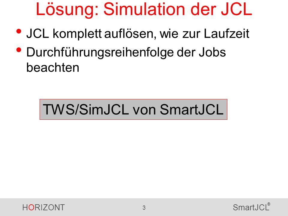 HORIZONT 3 SmartJCL ® Lösung: Simulation der JCL JCL komplett auflösen, wie zur Laufzeit Durchführungsreihenfolge der Jobs beachten TWS/SimJCL von Sma