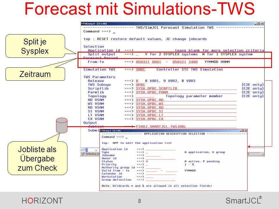 HORIZONT 8 SmartJCL ® Forecast mit Simulations-TWS Zeitraum Jobliste als Übergabe zum Check Split je Sysplex