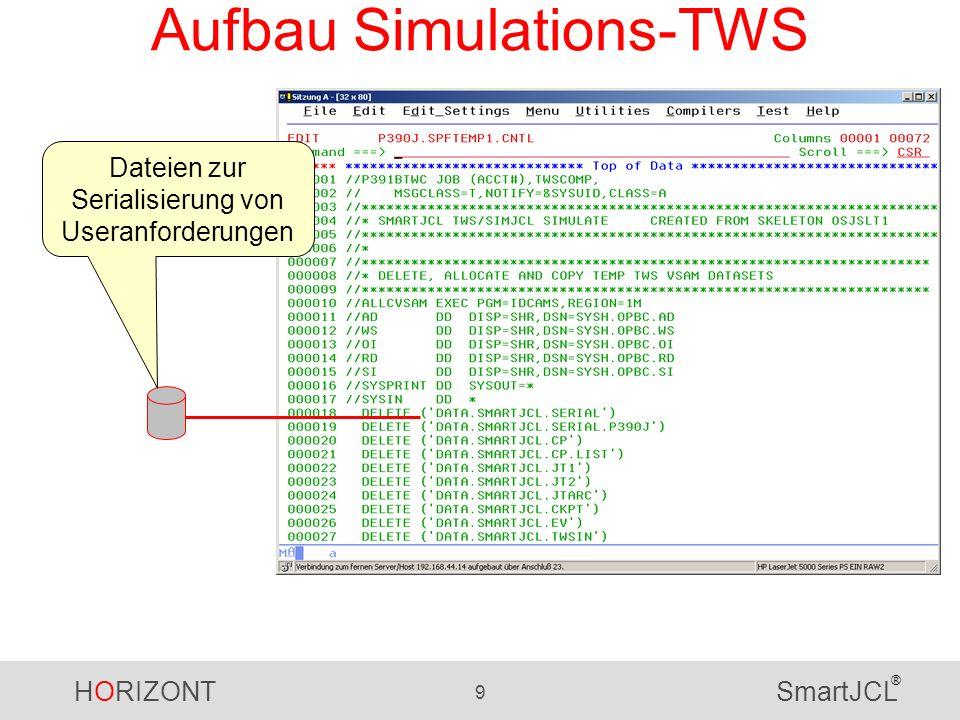 HORIZONT 9 SmartJCL ® Aufbau Simulations-TWS Dateien zur Serialisierung von Useranforderungen