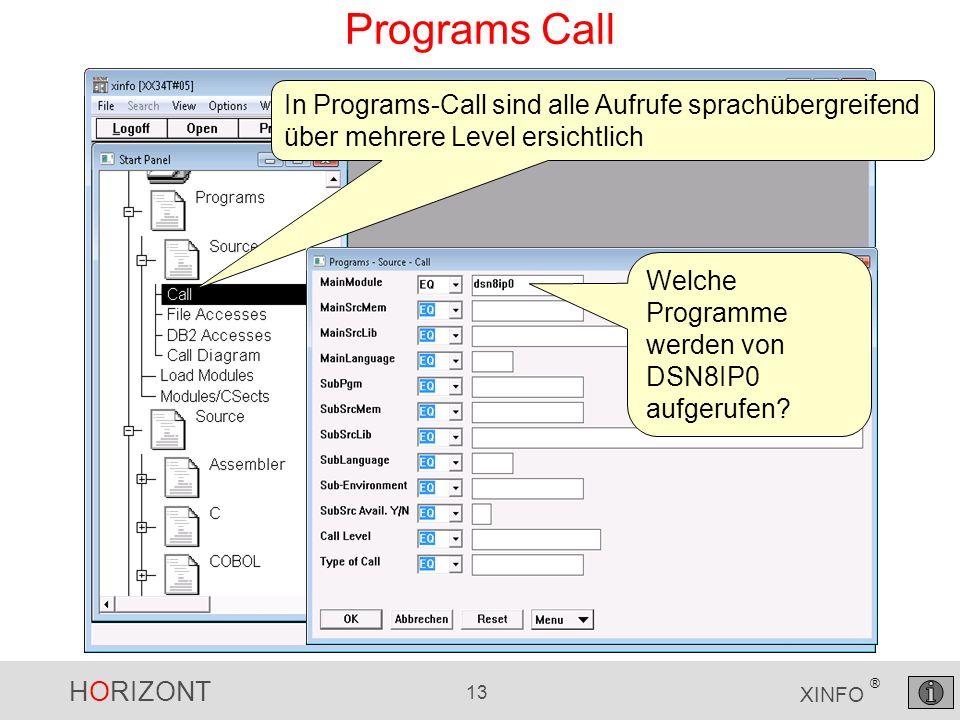 HORIZONT 13 XINFO ® Programs Call In Programs-Call sind alle Aufrufe sprachübergreifend über mehrere Level ersichtlich Welche Programme werden von DSN8IP0 aufgerufen?