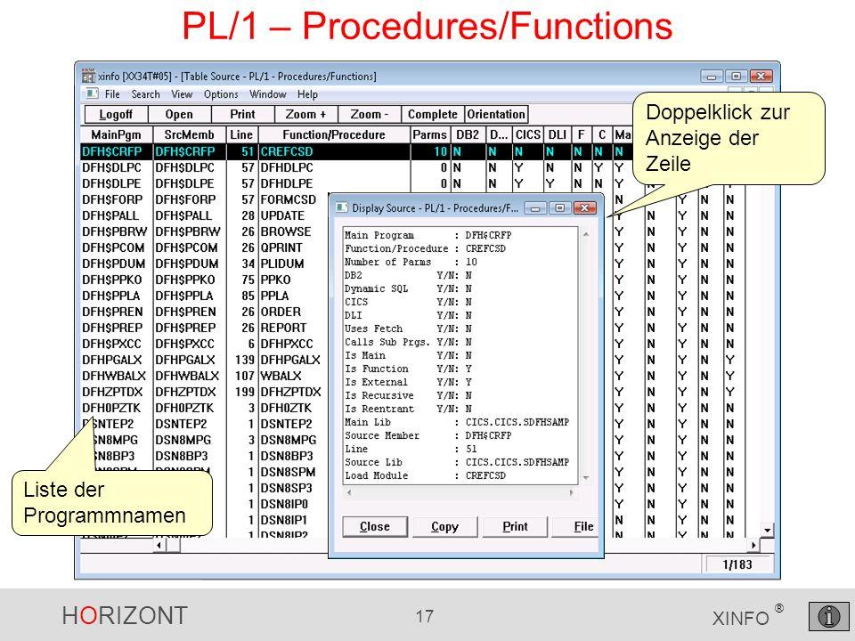 HORIZONT 17 XINFO ® PL/1 – Procedures/Functions Liste der Programmnamen Doppelklick zur Anzeige der Zeile