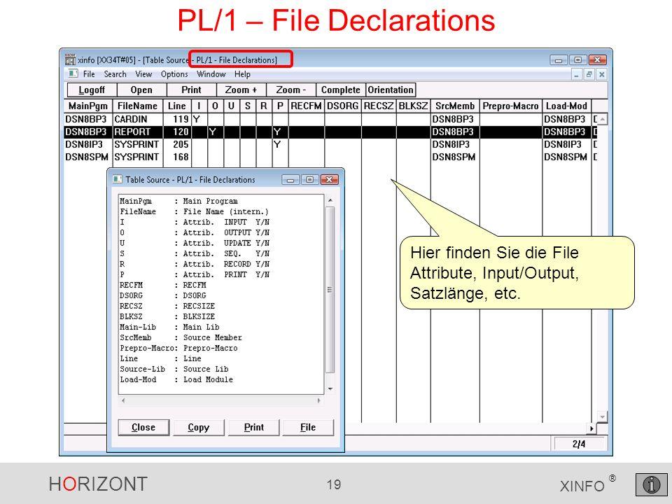 HORIZONT 19 XINFO ® PL/1 – File Declarations Hier finden Sie die File Attribute, Input/Output, Satzlänge, etc.