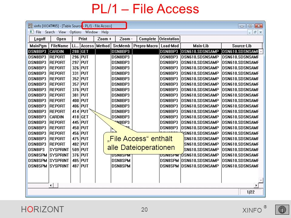HORIZONT 20 XINFO ® PL/1 – File Access File Access enthält alle Dateioperationen