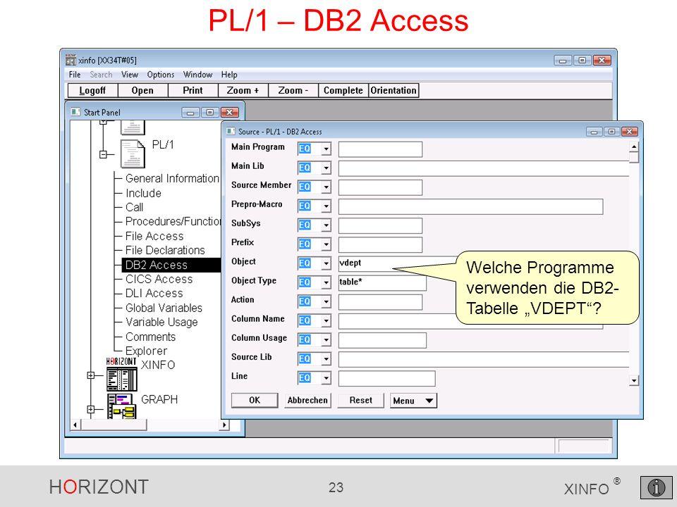 HORIZONT 23 XINFO ® PL/1 – DB2 Access Welche Programme verwenden die DB2- Tabelle VDEPT?