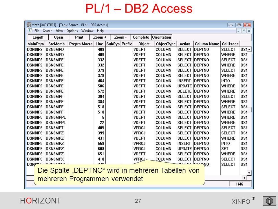 HORIZONT 27 XINFO ® PL/1 – DB2 Access Die Spalte DEPTNO wird in mehreren Tabellen von mehreren Programmen verwendet