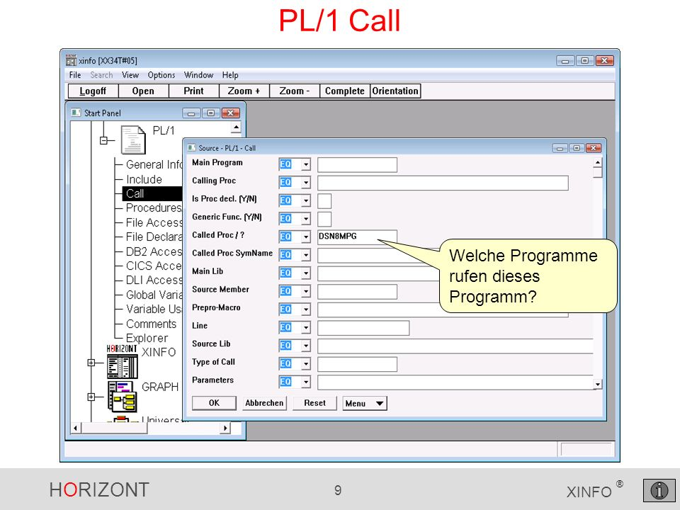 HORIZONT 10 XINFO ® PL/1 Call Die rufenden Programme Ggf.