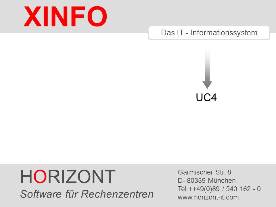 HORIZONT 32 XINFO ® UC4 – JOB Netzplan Ein Level Vorgänger und alle Nachfolger Planübergreifende UC4- Jobnetzpläne gibt es nur in XINFO !