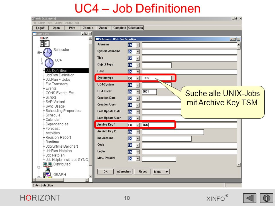HORIZONT 10 XINFO ® UC4 – Job Definitionen Suche alle UNIX-Jobs mit Archive Key TSM