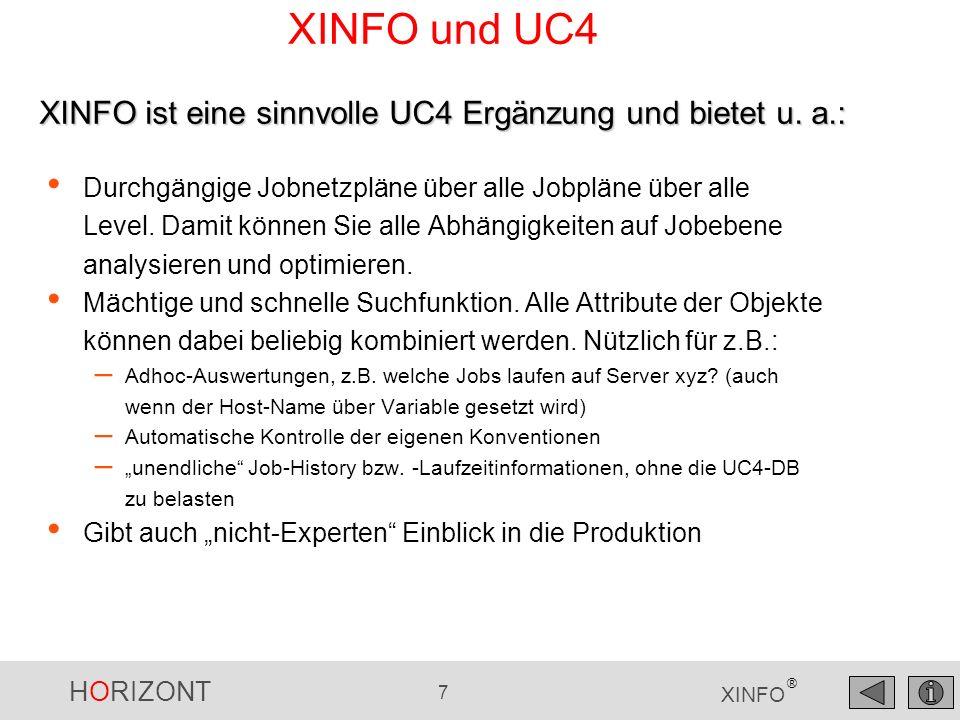 HORIZONT 8 XINFO ® XINFO und UC4 Objekt-Definitionen: JobPlan, Jobs, Filetransfer, Events, etc.