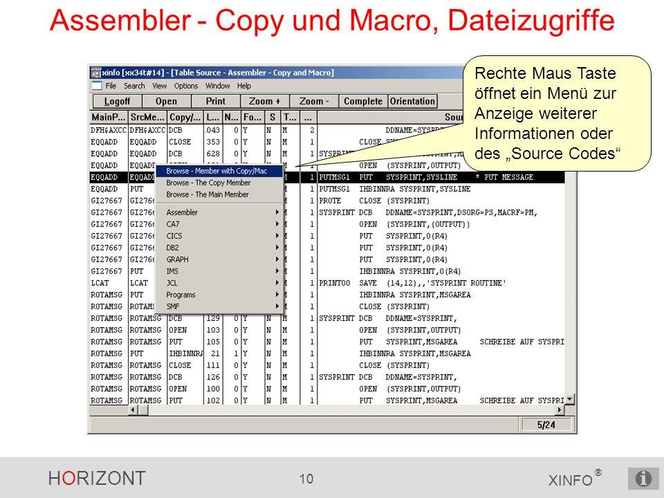 HORIZONT 10 XINFO ® Assembler - Copy und Macro, Dateizugriffe Rechte Maus Taste öffnet ein Menü zur Anzeige weiterer Informationen oder des Source Codes