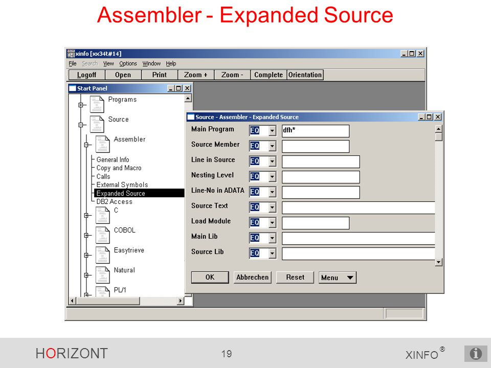 HORIZONT 19 XINFO ® Assembler - Expanded Source