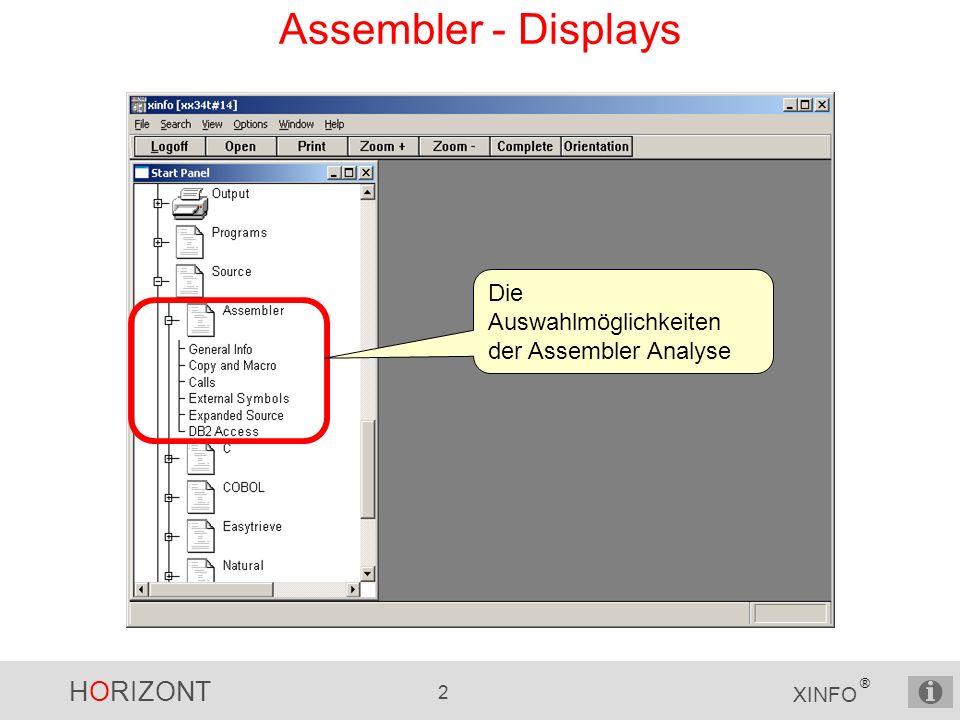 HORIZONT 2 XINFO ® Assembler - Displays Die Auswahlmöglichkeiten der Assembler Analyse