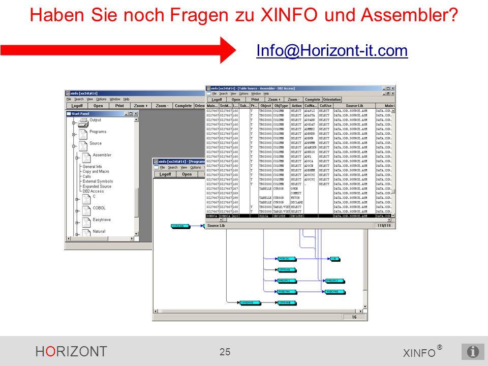 HORIZONT 25 XINFO ® Haben Sie noch Fragen zu XINFO und Assembler Info@Horizont-it.com