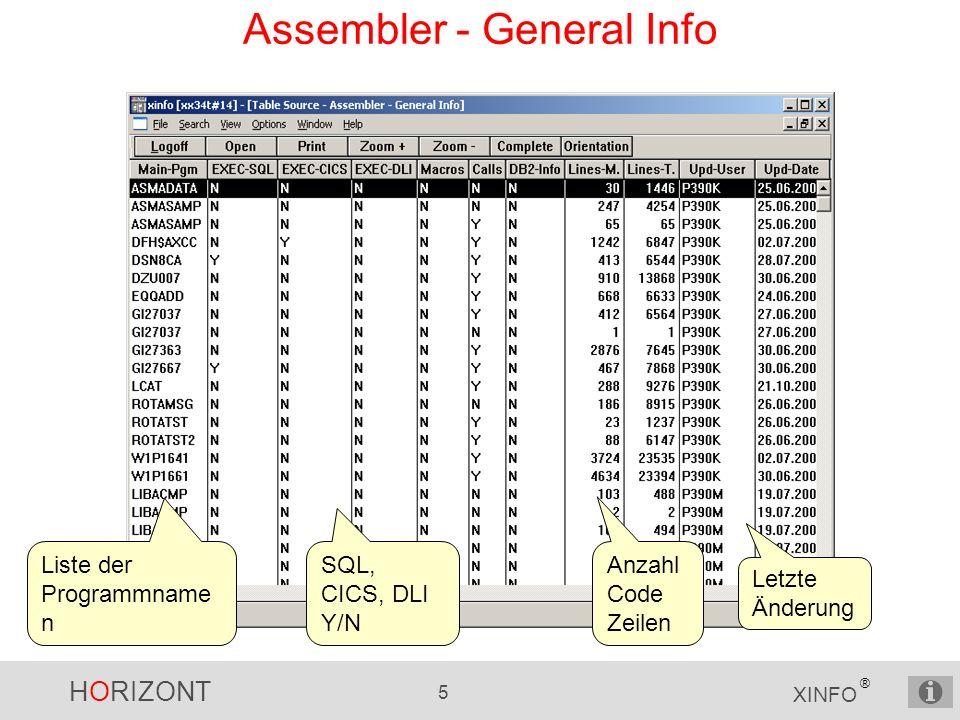 HORIZONT 5 XINFO ® Assembler - General Info Liste der Programmname n SQL, CICS, DLI Y/N Anzahl Code Zeilen Letzte Änderung