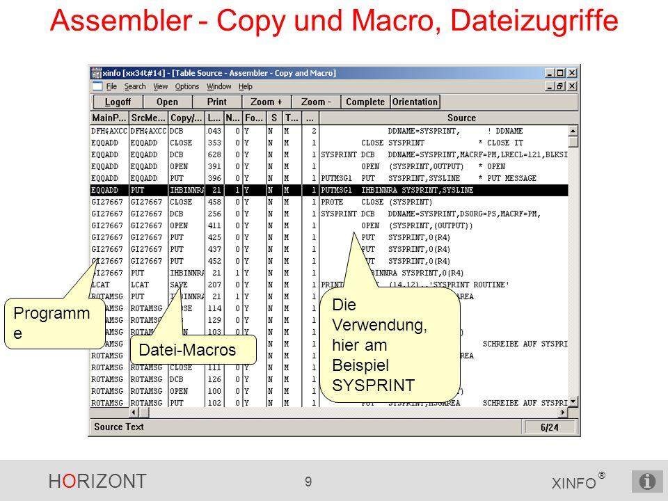 HORIZONT 9 XINFO ® Assembler - Copy und Macro, Dateizugriffe Programm e Datei-Macros Die Verwendung, hier am Beispiel SYSPRINT