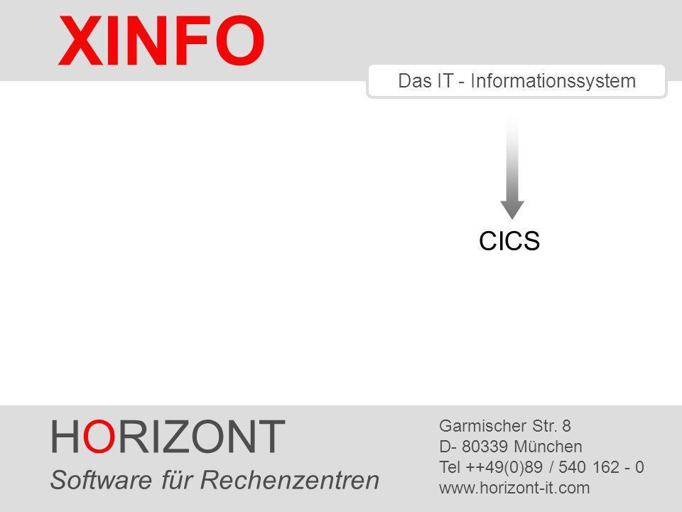 HORIZONT 1 XINFO ® Das IT - Informationssystem CICS HORIZONT Software für Rechenzentren Garmischer Str.