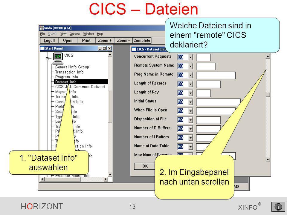 HORIZONT 13 XINFO ® CICS – Dateien Welche Dateien sind in einem remote CICS deklariert.