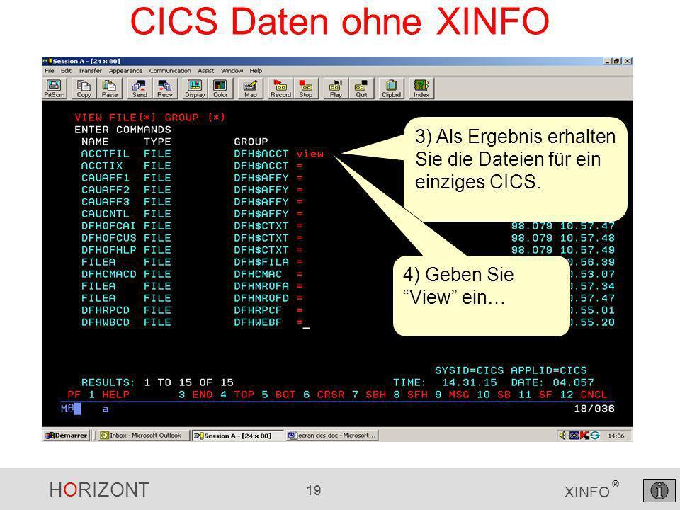 HORIZONT 19 XINFO ® CICS Daten ohne XINFO 3) Als Ergebnis erhalten Sie die Dateien für ein einziges CICS.