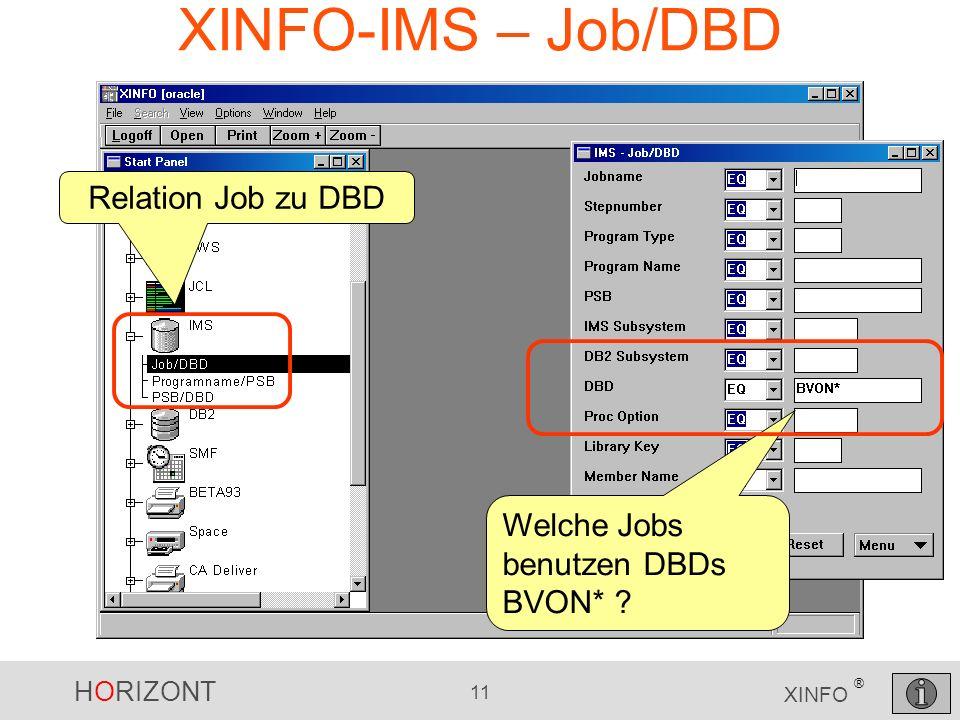 HORIZONT 11 XINFO ® XINFO-IMS – Job/DBD Welche Jobs benutzen DBDs BVON* Relation Job zu DBD