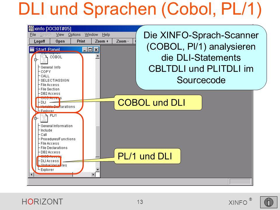 HORIZONT 13 XINFO ® DLI und Sprachen (Cobol, PL/1) COBOL und DLI PL/1 und DLI Die XINFO-Sprach-Scanner (COBOL, Pl/1) analysieren die DLI-Statements CBLTDLI und PLITDLI im Sourcecode