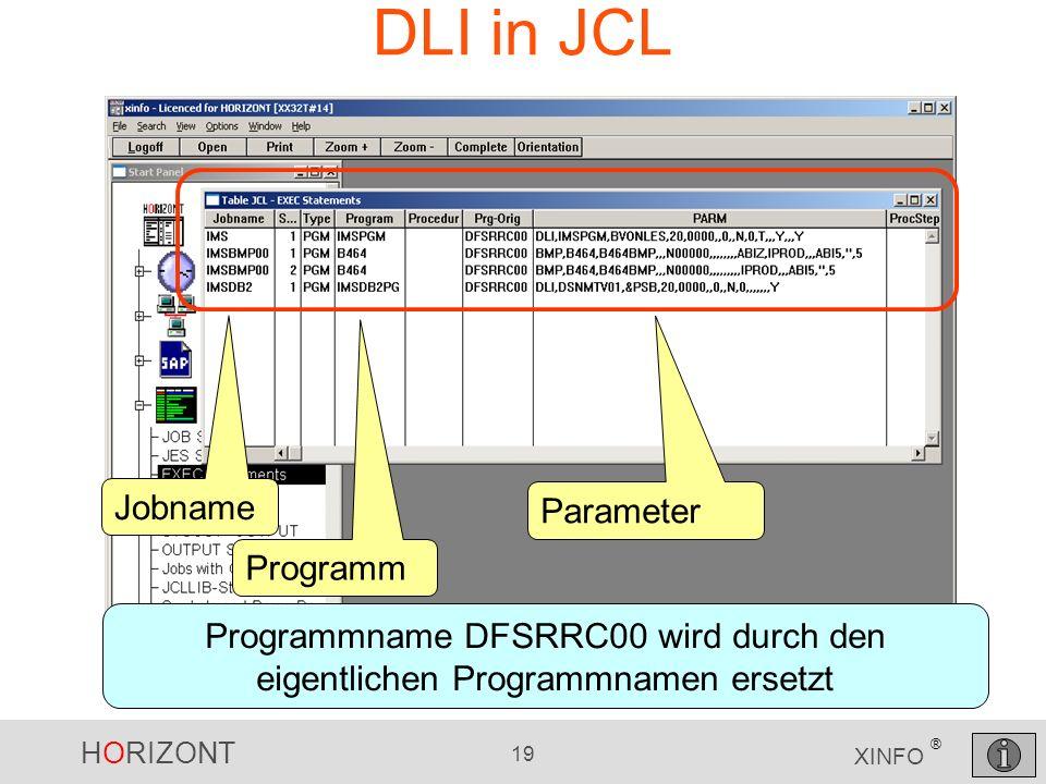 HORIZONT 19 XINFO ® DLI in JCL Jobname Programm Parameter Programmname DFSRRC00 wird durch den eigentlichen Programmnamen ersetzt
