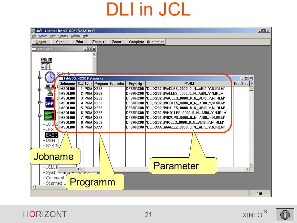 HORIZONT 21 XINFO ® DLI in JCL Jobname Programm Parameter