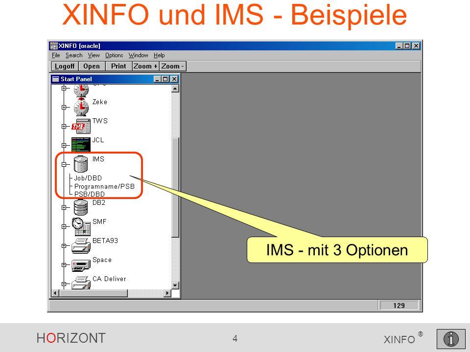 HORIZONT 15 XINFO ® DLI und Sprachen (Cobol, PL/1) Hier gibt es nur 1 DLI-Program (in unserer HORIZONT-Test-Umgebung)