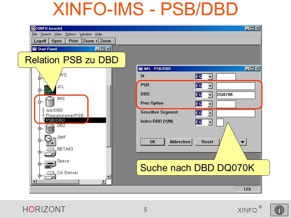 HORIZONT 6 XINFO ® XINFO-IMS - PSB/DBD IMS-Id, PSBs, DBDs, Proc-Options, …