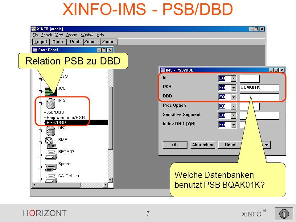 HORIZONT 7 XINFO ® XINFO-IMS - PSB/DBD Relation PSB zu DBD Welche Datenbanken benutzt PSB BQAK01K