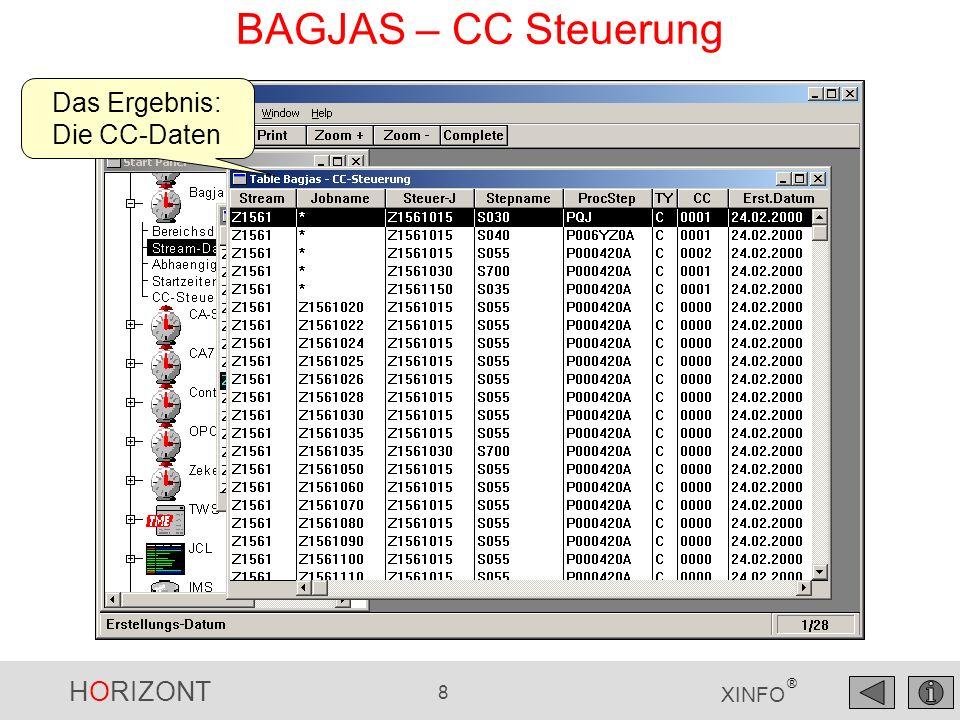 HORIZONT 8 XINFO ® BAGJAS – CC Steuerung Das Ergebnis: Die CC-Daten