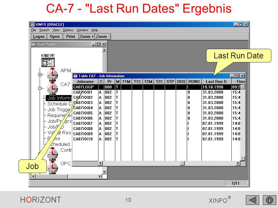 HORIZONT 10 XINFO ® Job Last Run Date CA-7 -
