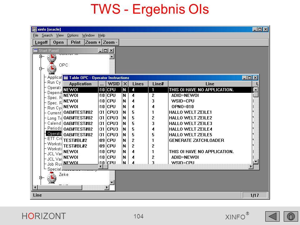 HORIZONT 104 XINFO ® TWS - Ergebnis OIs