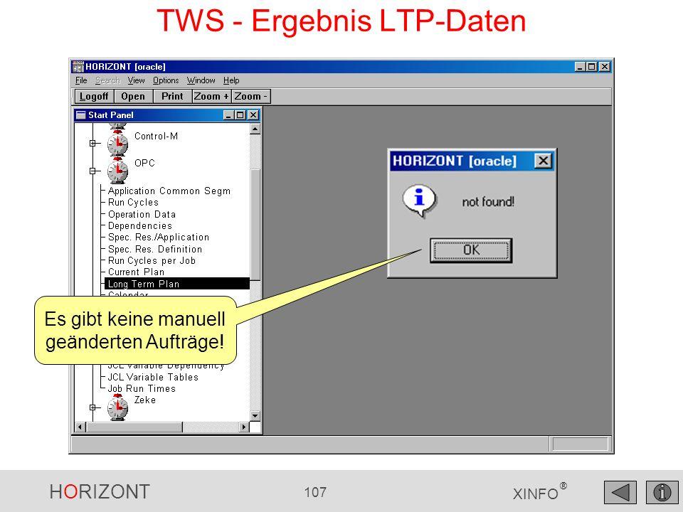 HORIZONT 107 XINFO ® TWS - Ergebnis LTP-Daten Es gibt keine manuell geänderten Aufträge!