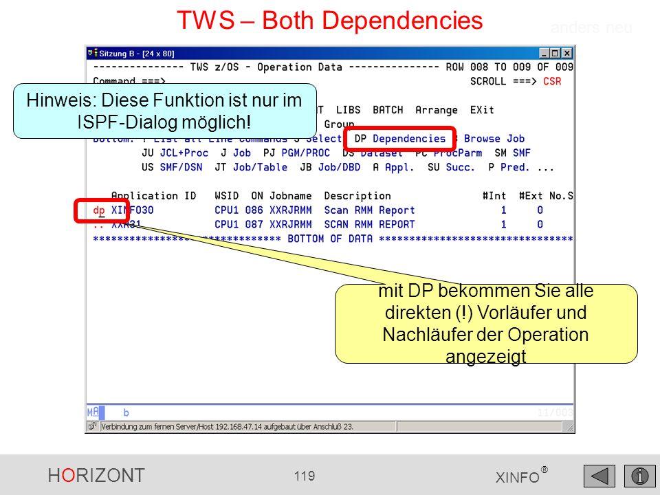 HORIZONT 119 XINFO ® TWS – Both Dependencies mit DP bekommen Sie alle direkten (!) Vorläufer und Nachläufer der Operation angezeigt anders neu Hinweis