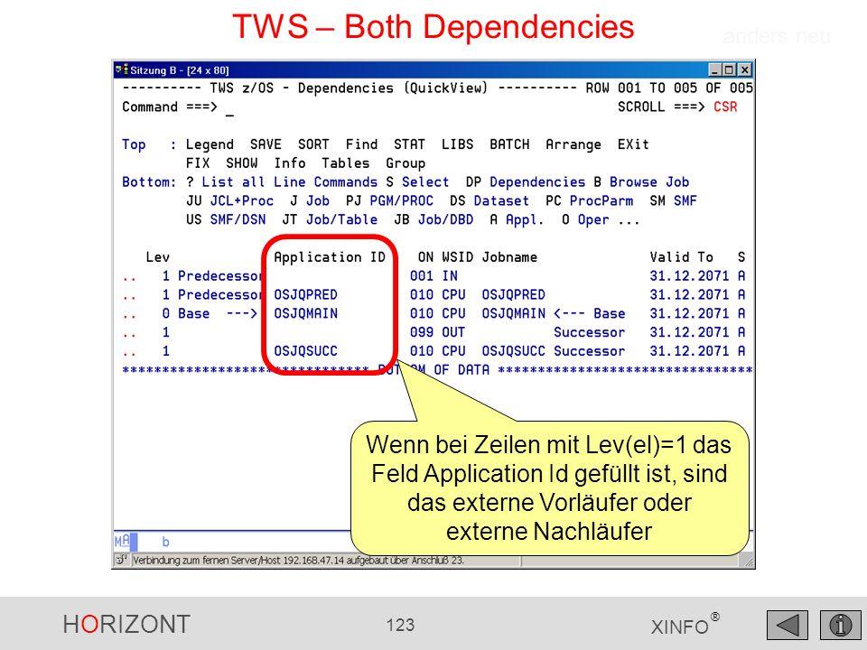 HORIZONT 123 XINFO ® TWS – Both Dependencies anders neu Wenn bei Zeilen mit Lev(el)=1 das Feld Application Id gefüllt ist, sind das externe Vorläufer